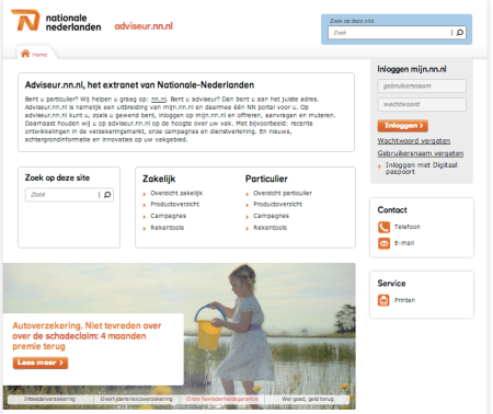 Extranet portal adviseurs intermediair Nationale Nederlanden finno