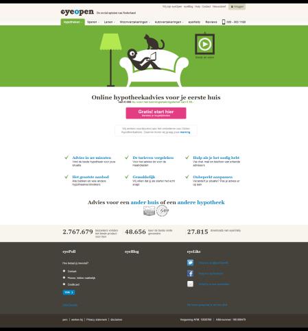 eyeOpen online hypotheekadvies startscherm finno