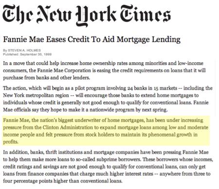 Fannie Mae Clinton Administration 1999 subprime mortgage finno