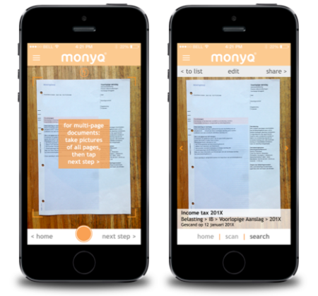 Monyq app scannen zoeke documenten finno